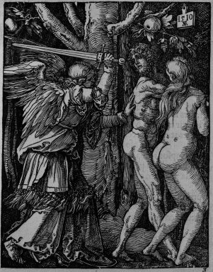 Albrecht Dürer (German, 1471-1528). Expulsion from Paradise, 1510; edition of 1511. Woodcut on laid paper, Sheet: 5 1/8 x 4 1/16 in. (13 x 10.3 cm). Brooklyn Museum, Gift of Mrs. Howard M. Morse, 56.105.3