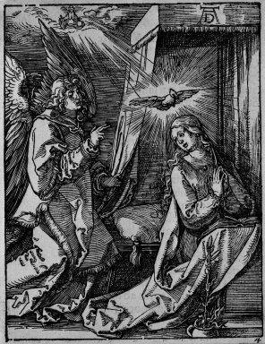 Albrecht Dürer (German, 1471-1528). Annunciation, 1509-1511; edition of 1511. Woodcut on laid paper, Sheet: 5 3/16 x 5 in. (13.2 x 12.7 cm). Brooklyn Museum, Gift of Mrs. Howard M. Morse, 56.105.4