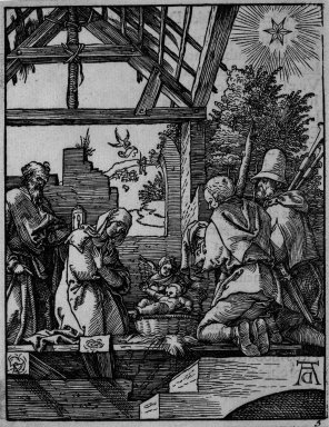 Albrecht Dürer (German, 1471-1528). Nativity, 1509-1511; edition of 1511. Woodcut on laid paper, Sheet: 5 1/4 x 4 1/16 in. (13.3 x 10.3 cm). Brooklyn Museum, Gift of Mrs. Howard M. Morse, 56.105.5