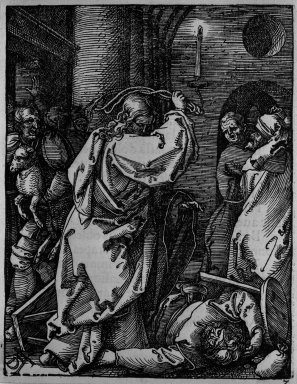 Albrecht Dürer (German, 1471-1528). Christ Driving the Money Lenders From the Temple, 1509-1511; edition of 1511. Woodcut on laid paper, Sheet: 5 1/8 x 4 in. (13 x 10.2 cm). Brooklyn Museum, Gift of Mrs. Howard M. Morse, 56.105.7