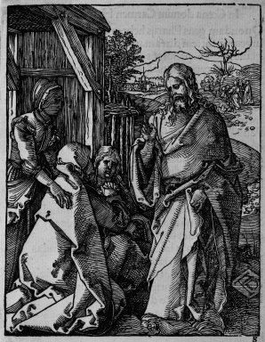 Albrecht Dürer (German, 1471-1528). Christ Taking Leave From His Mother, 1509-1511; edition of 1511. Woodcut on laid paper, Sheet: 5 3/16 x 4 1/16 in. (13.2 x 10.3 cm). Brooklyn Museum, Gift of Mrs. Howard M. Morse, 56.105.8