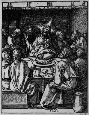 Albrecht Dürer (German, 1471-1528). Last Supper, 1509-1511; edition of 1511. Woodcut on laid paper, Sheet: 5 1/4 x 4 1/16 in. (13.3 x 10.3 cm). Brooklyn Museum, Gift of Mrs. Howard M. Morse, 56.105.9