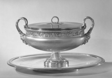 Henry Auguste. Tureen with Cover on Tray, ca. 1800. Silver, 10 7/8 x 10 1/2 x 18 in. (27.6 x 26.7 x 45.7 cm) Tureen. Brooklyn Museum, Gift of James H. Hyde, 56.176a-c. Creative Commons-BY