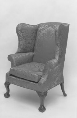 American. Easy Chair, ca. 1775. Silk damask, mahogany, 51 x 40 x 24 1/4 in. (129.5 x 101.6 x 61.6 cm). Brooklyn Museum, Dick S. Ramsay Fund, 56.186. Creative Commons-BY
