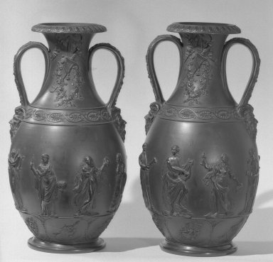 Pair of Vases. Wedgwood and other black basalt Brooklyn Museum, Gift of Emily Winthrop Miles, 56.192.30a-b. Creative Commons-BY