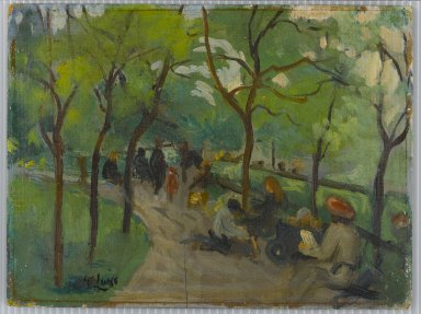 George Benjamin Luks (American, 1867-1933). Prospect Park, ca. 1902 - 1910. Oil on panel, 8 7/16 x 11 1/4 in. (21.5 x 28.5 cm). Brooklyn Museum, Gift of the Borough of Brooklyn, 56.22