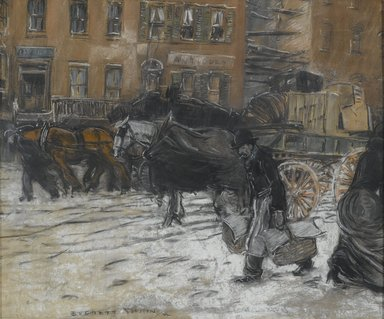 Everett Shinn (American, 1876-1953). Winter on 21st Street, New York, 1899. Pastel on gray paper mounted overall to pulpboard, 20 3/8 x 24 3/8 in. (51.8 x 61.9 cm). Brooklyn Museum, Gift of Solton Engel, 56.3