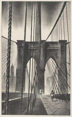 Louis Lozowick (American, born Russia, 1892-1973). Brooklyn Bridge, 1930. Lithograph on white wove paper, Sheet: 15 13/16 x 11 1/2 in. (40.2 x 29.2 cm). Brooklyn Museum, Gift of Erhart Weyhe, 56.4.41. © Estate of Louis Lozowick
