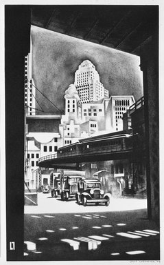 Louis Lozowick (American, born Russia, 1892-1973). Hanover Square, 1929. Lithograph on white wove paper, Sheet: 19 1/16 x 13 1/4 in. (48.4 x 33.7 cm). Brooklyn Museum, Gift of Erhart Weyhe, 56.4.43. © Estate of Louis Lozowick