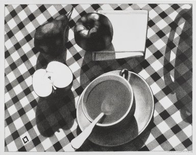 Louis Lozowick (American, born Russia, 1892-1973). Still Life, 1929. Lithograph on cream, medium-weight, slightly textured wove paper, Sheet: 14 x 17 7/8 in. (35.6 x 45.4 cm). Brooklyn Museum, Gift of Erhart Weyhe, 56.4.44. © Estate of Louis Lozowick