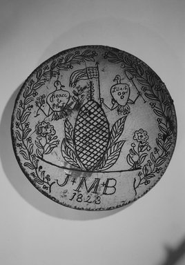 American. Pie Plate, 1823. Earthenware, 2 3/8 x 12 1/4 x 12 1/4 in. (6 x 31.1 x 31.1 cm). Brooklyn Museum, Gift of Huldah Cail Lorimer in memory of George Burford Lorimer, 56.5.11. Creative Commons-BY