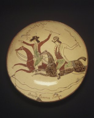 David Spinner (American, 1758-1811). Pie Plate, ca. 1800. Glazed earthenware, Height: 2 in.  (5.1 cm);. Brooklyn Museum, Gift of Huldah Cail Lorimer in memory of George Burford Lorimer, 56.5.8. Creative Commons-BY