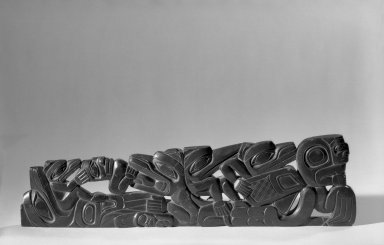 Possibly Haida (Native American). Carved Pipe, 1868-1933. Slate, argillite, 34.6 x 9.7 cm / 13 1/2 x 3 3/4 in. Brooklyn Museum, Gift of Arturo and Paul Peralta-Ramos, 56.6.61. Creative Commons-BY