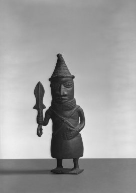 Edo. Standing Figure, 19th or 20th century. Copper alloy, 7 3/4 x 2 in. (19.8 x 5.0 cm). Brooklyn Museum, Gift of Arturo and Paul Peralta-Ramos, 56.6.75. Creative Commons-BY