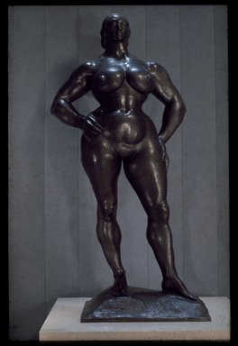 Gaston Lachaise (American, born France, 1882-1935). Standing Woman, 1955-1956. Bronze, 88 1/2 x 44 3/8 x 24 11/16 in. (224.8 x 112.7 x 62.7 cm). Brooklyn Museum, Frank Sherman Benson Fund, A. Augustus Healy Fund, Alfred T. White Fund, and Museum Collection Fund, 56.69. © Estate of Gaston Lachaise