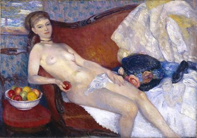 William Glackens (American, 1870-1938). Girl with Apple, 1909-1910. Oil on canvas, 39 7/16 x 56 3/16 in. (100.2 x 142.7 cm). Brooklyn Museum, Dick S. Ramsay Fund, 56.70