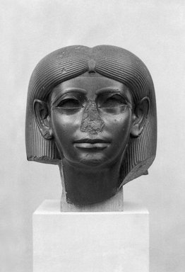 Head from a Female Sphinx, ca. 1876-1842 B.C.E. Chlorite, 15 5/16 x 13 1/8 x 13 15/16 in., 124.5 lb. (38.9 x 33.3 x 35.4 cm, 56.47kg). Brooklyn Museum, Charles Edwin Wilbour Fund, 56.85. Creative Commons-BY