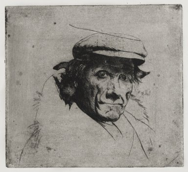 Joseph Stella (American, born Italy, 1877-1946). Man with Cap, 1957. Etching on paper, Sheet: 10 9/16 x 10 9/16 in. (26.8 x 26.8 cm). Brooklyn Museum, Gift of Nathan Krueger, 57.126.2