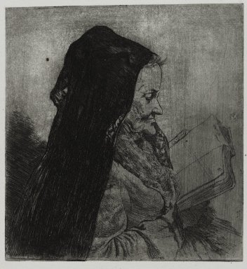 Joseph Stella (American, born Italy, 1877-1946). Old Woman Reading, 1957. Etching Brooklyn Museum, Gift of Nathan Krueger, 57.126.3