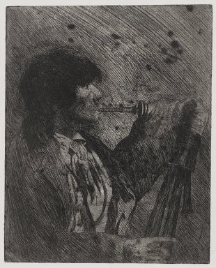 Joseph Stella (American, born Italy, 1877-1946). Man Playing Bagpipes, 1957. Etching Brooklyn Museum, Gift of Nathan Krueger, 57.126.4