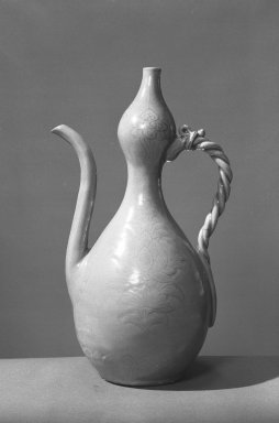 Ewer, 12th century. Porcelaneous stoneware with celadon glaze, Height: 11 13/16 in. (30 cm). Brooklyn Museum, Museum Collection Fund, 57.141. Creative Commons-BY