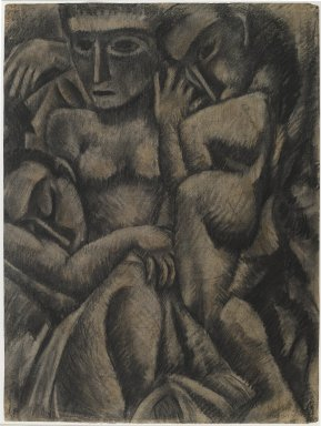 Max Weber (American, born Russia, 1881-1961). Composition with Four Figures, 1910. Charcoal and pastel on moderately thick, moderately tetured laid paper, Sheet: 24 1/4 x 18 1/4 in. (61.6 x 46.4 cm). Brooklyn Museum, Dick S. Ramsay Fund, 57.17