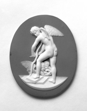 Wedgwood & Bentley (1759-present). Medallion, Cupid Shaving His Bow, ca. 1775. Jasperware, 3 1/4  x 2 5/8 in. Brooklyn Museum, Gift of Emily Winthrop Miles, 57.180.60. Creative Commons-BY
