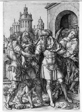 Heinrich Aldegrever (German, 1502 -ca.1555). Lot Protecting the Angels from the Inhabitants of Sodom, 1555. Engraving on laid paper, 4 1/2 x 3 1/4 in. (11.5 x 8.2 cm). Brooklyn Museum, Gift of Mrs. Charles Pratt, 57.188.1