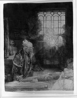 Rembrandt Harmensz. van Rijn (Dutch, 1606-1669). Faust in His Study, Watching a Magic Disc, ca. 1652. Etching and drypoint on Japan paper, Image: 8 x 6 1/4 in. (20.3 x 15.9 cm). Brooklyn Museum, Gift of Mrs. Charles Pratt, 57.188.59