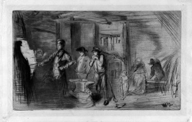 James Abbott McNeill Whistler (American, 1834-1903). The Forge, 1861. Etching on tissue paper, Image: 7 3/8 x 12 3/8 in. (18.7 x 31.4 cm). Brooklyn Museum, Gift of Mrs. Charles Pratt, 57.188.66