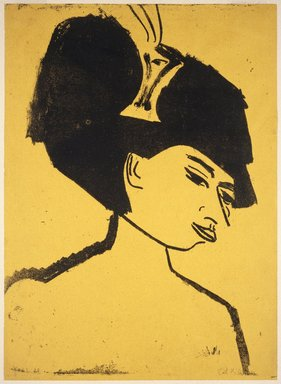 Ernst Ludwig Kirchner (German, 1880-1938). Milliner with Hat (Modistin mit Hut), 1910. Lithograph on wove paper, Image: 23 9/16 x 17 in. (59.8 x 43.2 cm). Brooklyn Museum, Carll H. de Silver Fund, 57.194.1