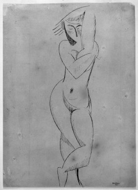 Max Weber (American, born Russia, 1881-1961). Standing Figure, 1911. Blue-gray ink on tan, moderately thick, smooth wove paper, Sheet: 14 1/2 x 10 1/2 in. (36.8 x 26.7 cm). Brooklyn Museum, Gift of the artist, 57.28