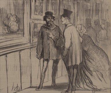 Honoré Daumier (French, 1808-1879). Le Peintre Qui A Eu un Tableau Refusé, April 27, 1859. Lithograph on newsprint, Sheet: 11 3/4 x 11 7/16 in. (29.8 x 29.1 cm). Brooklyn Museum, Anonymous gift, 57.49.1