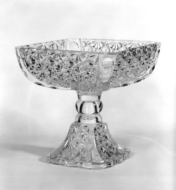 Compote, ca. 1880. Pressed glass, 6 7/8 x 6 5/8 x 6 5/8 in. (17.5 x 16.8 x 16.8 cm). Brooklyn Museum, Gift of Mrs. Cheever Porter, 57.90.3. Creative Commons-BY
