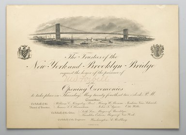 Invitation to the Opening of the Brooklyn Bridge, 1883. Engraving, 6 5/8 x 9 in. (16.8 x 22.9 cm). Brooklyn Museum, Gift of the Congregational Home for the Aged, 57.91.1