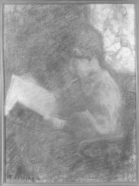 Henri- Joseph Castaing (French, 1860-1918). Woman Reading. Pastel, 17 1/2 x 12 7/8 in.  (44.5 x 32.7 cm). Brooklyn Museum, Gift of Mr. and Mrs. Sidney W. Davidson, 57.97