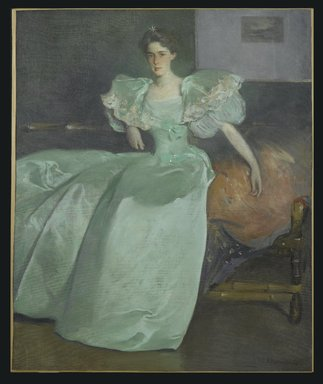 John White Alexander (American, 1856-1915). Miss Helen Manice (later Mrs. Henry M. Alexander), 1895. Oil on canvas, 63 9/16 x 52 1/16 in. (161.5 x 132.2 cm). Brooklyn Museum, Gift of Mrs. Helen G. Rhinelander and Mr. DeForest M. Alexander, 58.154