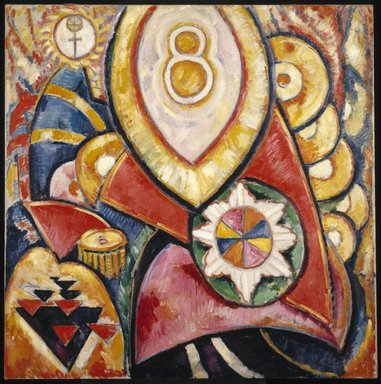 Marsden Hartley (American, 1877-1943). Painting No. 48, 1913. Oil on canvas, 47 3/16 x 47 3/16in. (119.9 x 119.9cm). Brooklyn Museum, Dick S. Ramsay Fund, 58.158