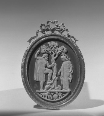 Wedgwood & Bentley (1759-present). Upright Oval Cameo, ca. 1775. White relief on black wash, gilt frame, 2 5/8 x 2 1/4 in. (6.7 x 5.7 cm). Brooklyn Museum, Gift of Emily Winthrop Miles, 58.194.12. Creative Commons-BY