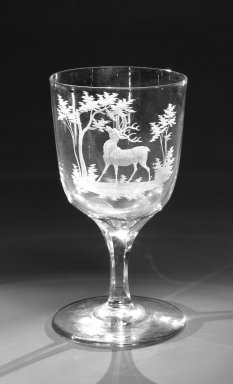 Brooklyn Flint Glass Company. Water Goblet, ca. 1860. Engraved glass, 6 x 3 1/4 in. (15.2 x 8.3 cm). Brooklyn Museum, Gift of Alexander L. Thompson, 58.36.10. Creative Commons-BY