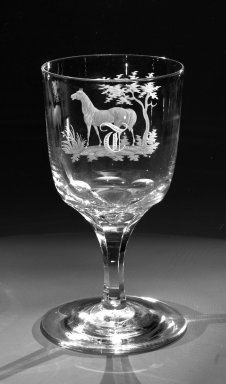 American. Water Goblet, ca. 1860. Engraved glass, 6 x 3 1/4 in. (15.2 x 8.3 cm). Brooklyn Museum, Gift of Alexander L. Thompson, 58.36.1. Creative Commons-BY