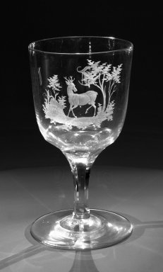 Brooklyn Flint Glass Company. Water Goblet, ca. 1860. Engraved glass, 6 x 3 1/4 in. (15.2 x 8.3 cm). Brooklyn Museum, Gift of Alexander L. Thompson, 58.36.2. Creative Commons-BY