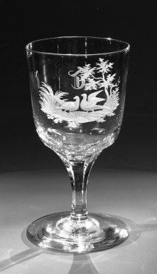 Brooklyn Flint Glass Company. Water Goblet, ca. 1860. Engraved glass, 6 x 3 1/4 in. (15.2 x 8.3 cm). Brooklyn Museum, Gift of Alexander L. Thompson, 58.36.3. Creative Commons-BY