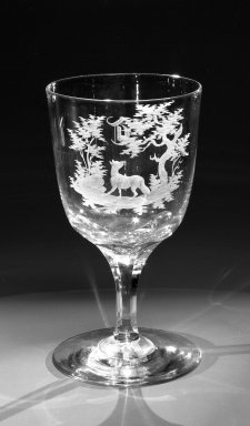 Brooklyn Flint Glass Company. Water Goblet, ca. 1860. Engraved glass, 6 x 3 1/4 in. (15.2 x 8.3 cm). Brooklyn Museum, Gift of Alexander L. Thompson, 58.36.5. Creative Commons-BY