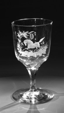 Brooklyn Flint Glass Company. Water Goblet, ca. 1860. Engraved glass, 6 x 3 1/4 in. (15.2 x 8.3 cm). Brooklyn Museum, Gift of Alexander L. Thompson, 58.36.8. Creative Commons-BY