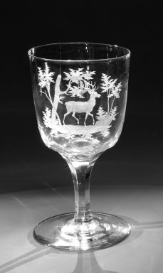Brooklyn Flint Glass Company. Water Goblet, ca. 1860. Engraved glass, 6 x 3 1/4 in. (15.2 x 8.3 cm). Brooklyn Museum, Gift of Alexander L. Thompson, 58.36.9. Creative Commons-BY