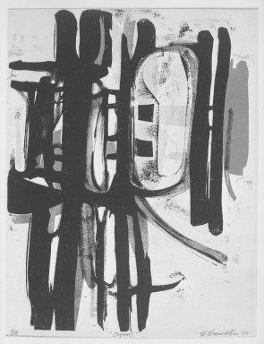 Edmond Casarella (American, 1920-1996). Signal, 1957. Paper relief cut, Image: 26 x 19 7/8 in. (66 x 50.5 cm). Brooklyn Museum, Dick S. Ramsay Fund, 58.42. © Estate of Edmond Casarella
