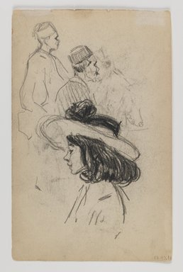 George Benjamin Luks (American, 1867-1933). Recto: Man Reading; Verso: Young Girl, n.d. Black conte crayon on beige, medium thick, slightly textured wove paper, Sheet: 7 7/16 x 4 3/4 in. (18.9 x 12.1 cm). Brooklyn Museum, Dick S. Ramsay Fund, 58.43.1a-b