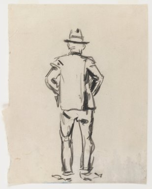 George Benjamin Luks (American, 1867-1933). Figure of a Man - Back View, n.d. Black Conté crayon on off-white, medium-weight, smooth wove paper, Sheet (irregular): 10 1/8 x 8 3/16 in. (25.7 x 20.8 cm). Brooklyn Museum, Dick S. Ramsay Fund, 58.43.3