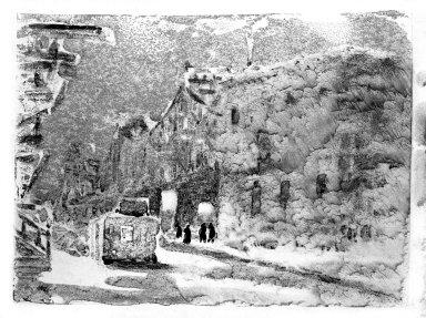 George Benjamin Luks (American, 1867-1933). Street Scene. Monotype in color, Image: 10 1/16 x 7 5/8 in. (25.6 x 19.4 cm). Brooklyn Museum, Dick S. Ramsay Fund, 58.43.6